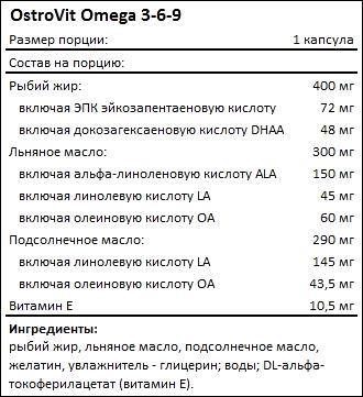 Состав Ostrovit Omega 3-6-9