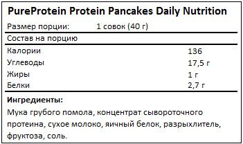 Состав Protein Pancakes Daily Nutrition от PureProtein