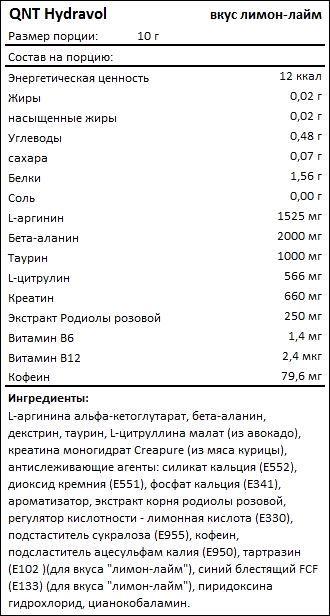 Состав QNT Hydravol