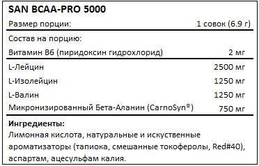 Состав BCAA-Pro 5000 от SAN
