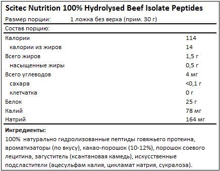 Состав 100% Hydrolysed Beef Isolate Peptides от Scitec Nutrition