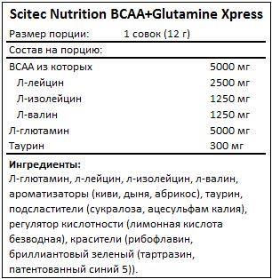 Состав BCAA + Glutamine Xpress от Scitec Nutrition
