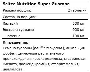 Состав Scitec Nutrition Super Guarana