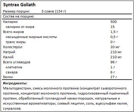 Состав Goliath от Syntrax