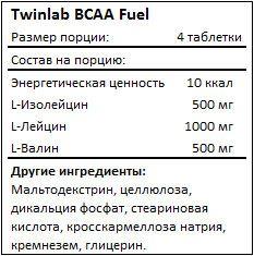 Состав Twinlab BCAA Fuel
