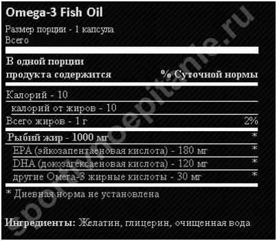 Состав Ultimate Nutrition Omega-3 180