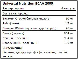 Состав Universal Nutrition BCAA 2000