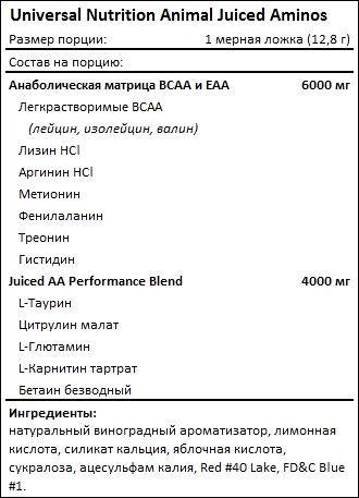 Состав Universal Nutrition Animal Juiced Aminos