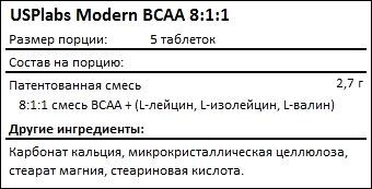 Состав USPlabs Modern BCAA 8-1-1