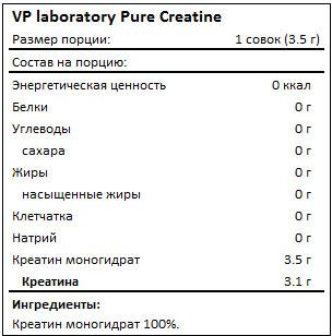Состав Vplab Pure Creatine