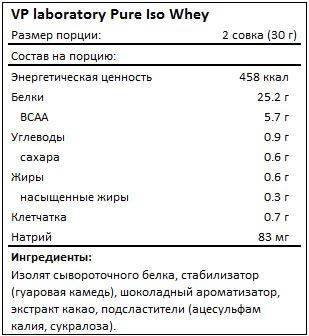 Состав VP Laboratory Pure Iso Whey