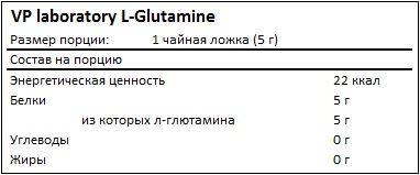 Состав L-Glutamine от Vplab