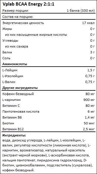 Состав Vplab BCAA Energy 2-1-1