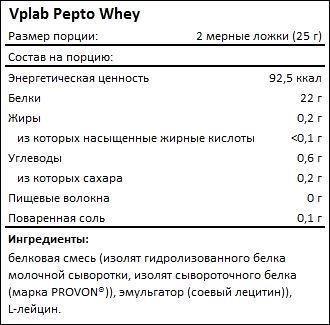 Состав Vplab Pepto Whey